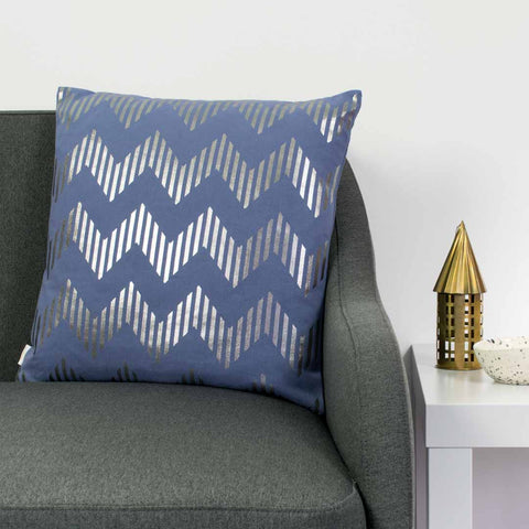 Line Chevron Metallic Cushion in Blue and Gunmetal by Penelope Hope