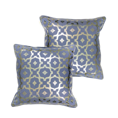 Moroccan Metallic Cushion in Blue and Gunmetal by Penelope Hope