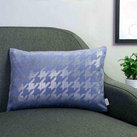 Sketchy Dogtooth Metallic Cushion in Blue and Gunmetal by Penelope Hope
