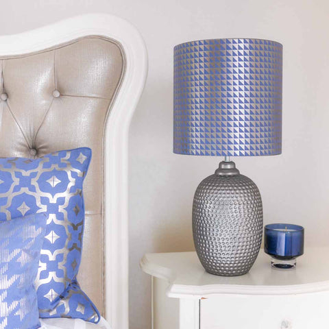 Metallic Triangles Lampshade in Blue and Gunmetal by Penelope