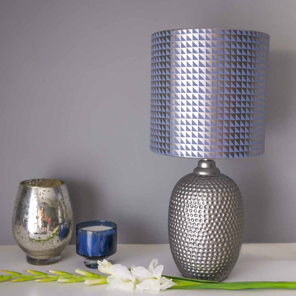 Metallic Triangles Lampshade in Blue and Gunmetal by Penelope Hope