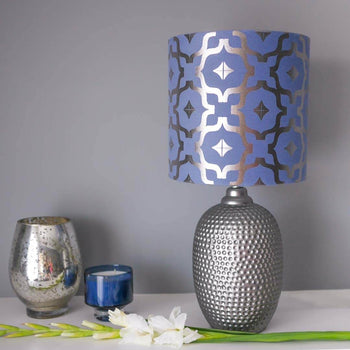 Moroccan Metallic Lampshade in Blue and Gunmetal by Penelope Hope