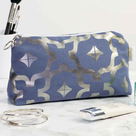Moroccan Metallic Makeup Bag in Blue and Gunmetal by Penelope Hope