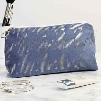 Dogtooth Metallic Makeup Bag in Blue and Gunmetal by Penelope Hope