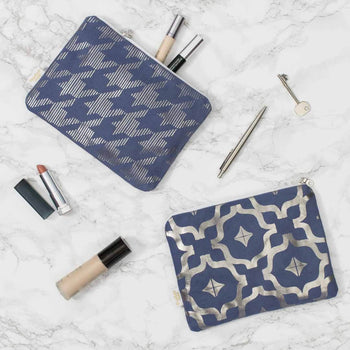 Metallic Pouch in Blue and Gunmetal by Penelope Hope