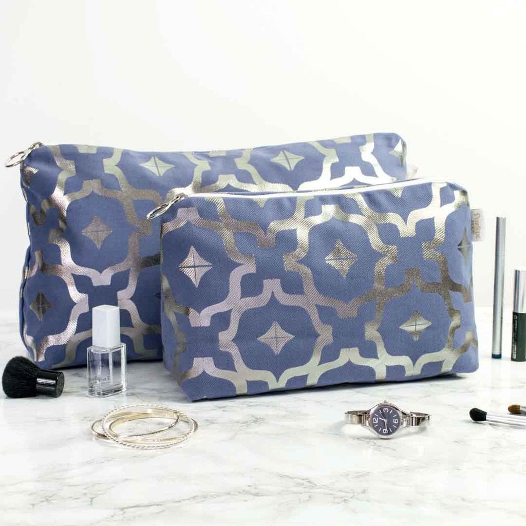 Moroccan Metallic Wash Bag in Blue and Gunmetal by Penelope Hope