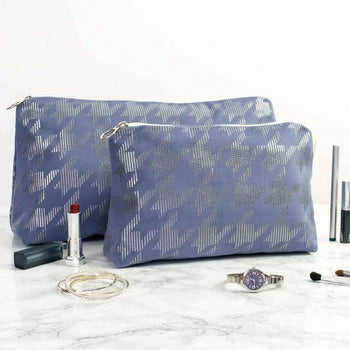 Dogtooth Metallic Wash Bag in Blue and Gunmetal by Penelope Hope