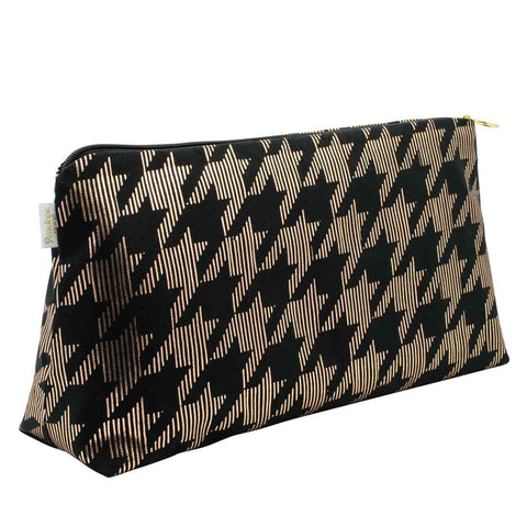 Dogtooth Black & Copper Large Wash Bag by Penelope Hope