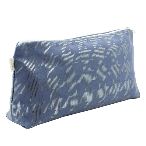 Dogtooth Blue & Gunmetal Large Wash Bag by Penelope Hope