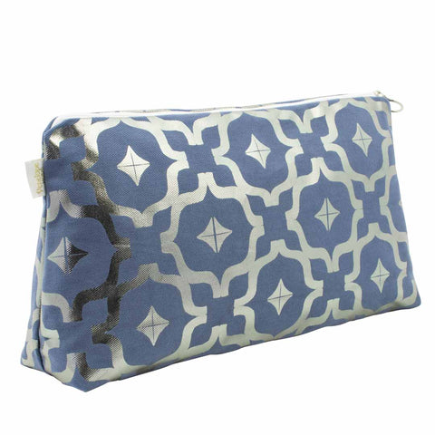 Moroccan Metallic Wash Bag in Blue & Gunmetal by Penelope Hope