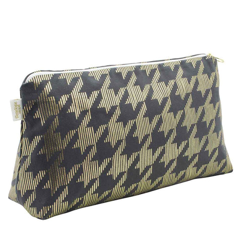 Dogtooth Large Grey & Gold Wash Bag by Penelope Hope
