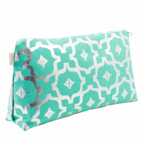 Taha'a Teal & Silver Large Wash Bag by Penelope Hope