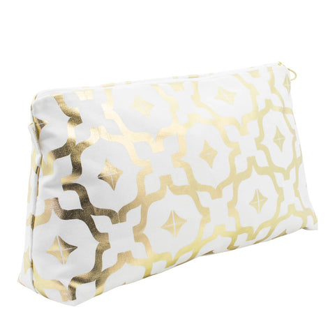 Taha'a White & Gold Large Wash Bag by Penelope Hope