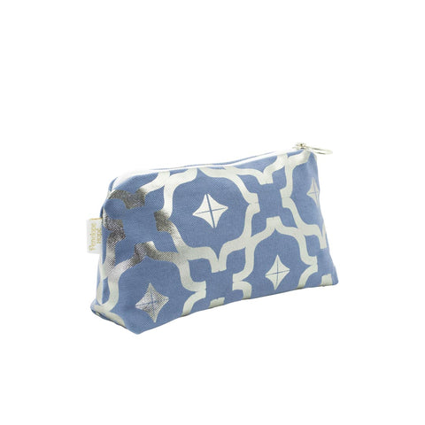 Taha'a Steel Blue & Gunmetal Makeup Bag by Penelope Hope