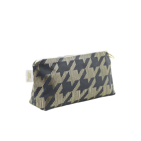 Geometric Dogtooth Metallic Makeup Bag by Penelope Hope