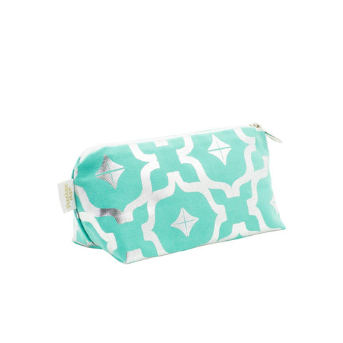 Taha'a Teal & Silver Makeup Bag by Penelope Hope