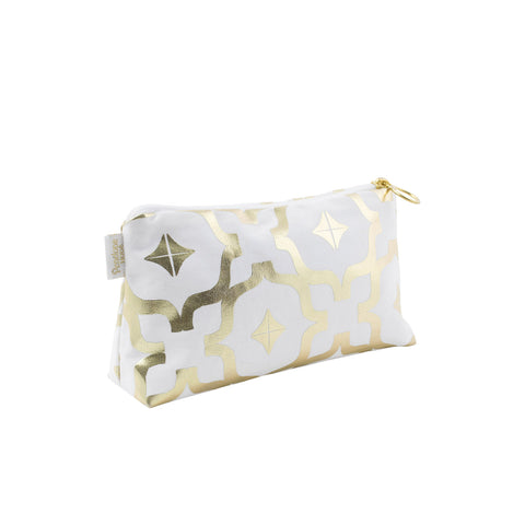 Moroccan Metallic Makeup Bag in White & Gold by Penelope Hope
