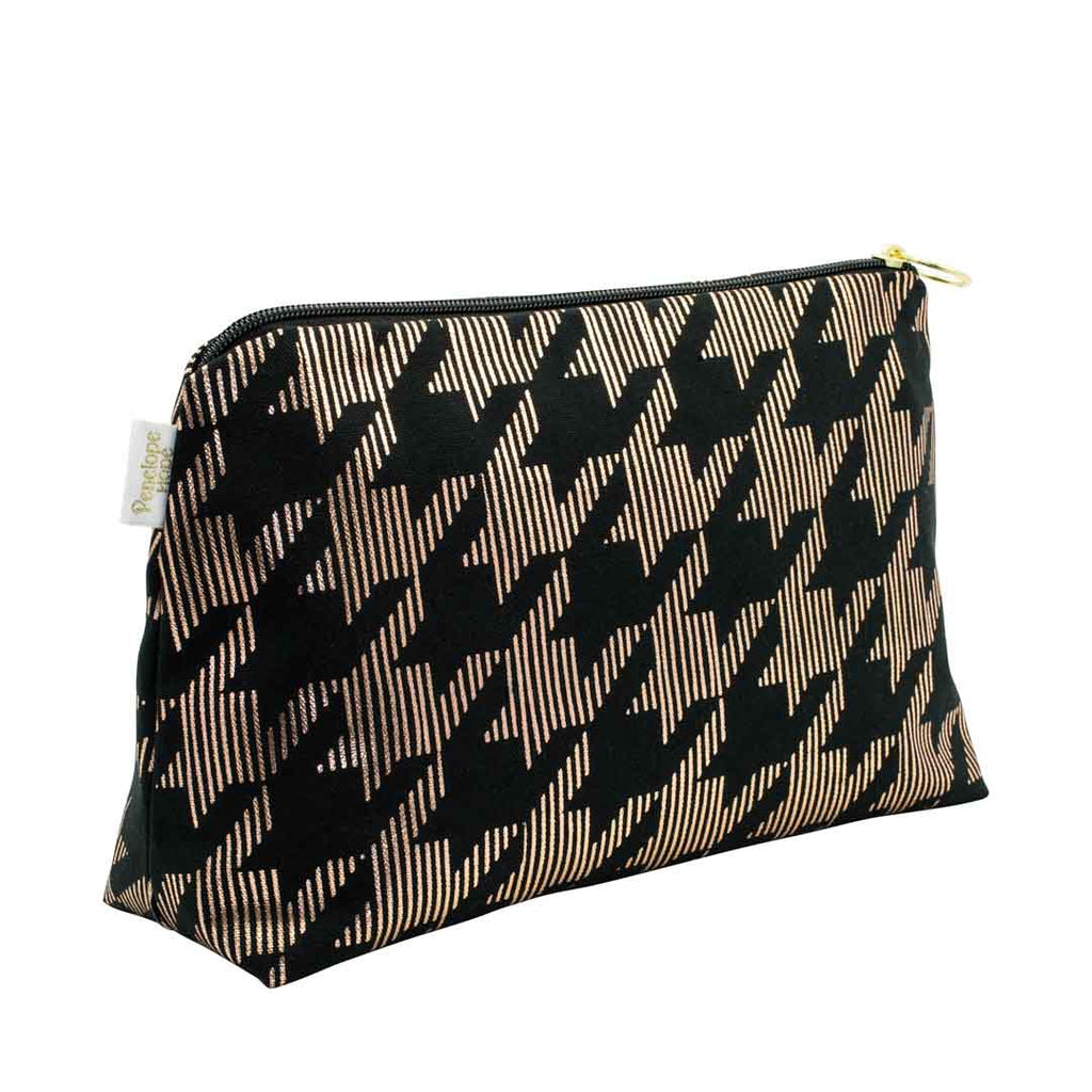 Dogtooth Black & Copper Medium Wash Bag by Penelope Hope