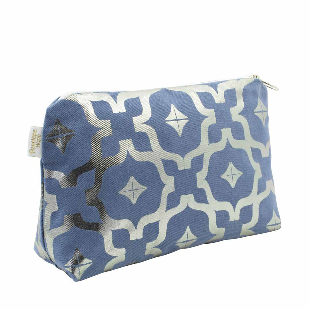 Moroccan Medium Metallic Wash Bag in Blue & Gunmetal by Penelope Hope