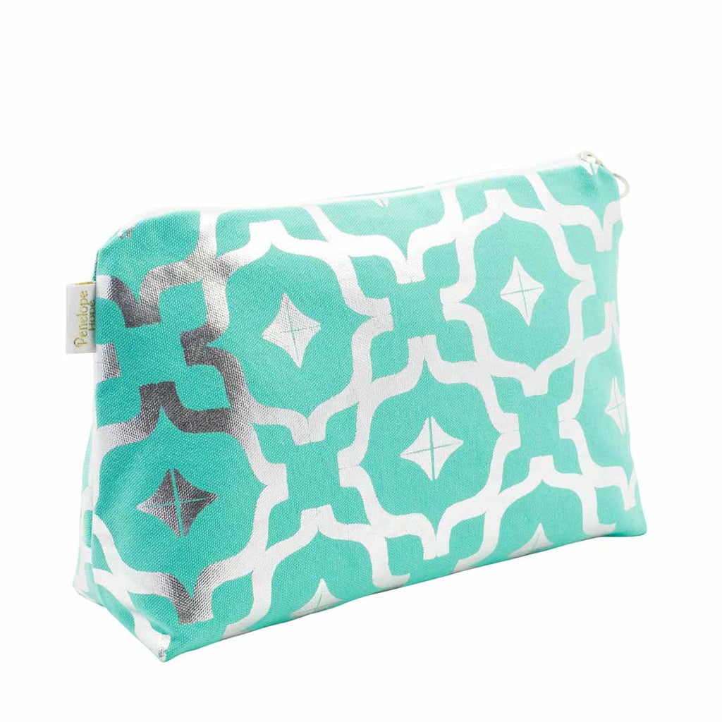 Taha'a Teal & Silver Medium Wash Bag by Penelope Hope