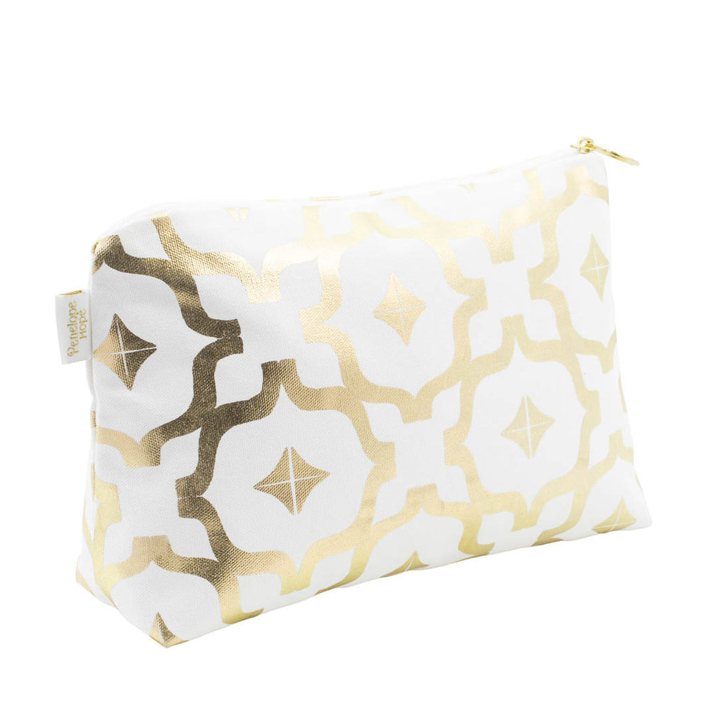Taha'a White & Gold Medium Wash Bag by Penelope Hope