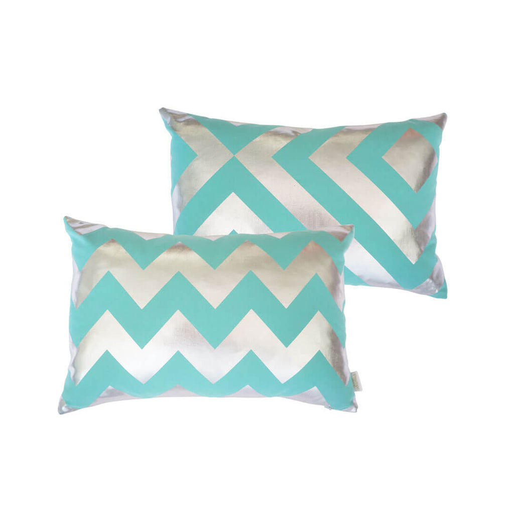 Chunky Chevron Metallic Cushion in Teal and Silver FRONT & BACK