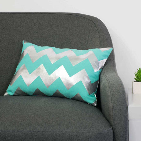 Chunky Chevron Metallic Cushion in Teal and Silver by Penelope Hope