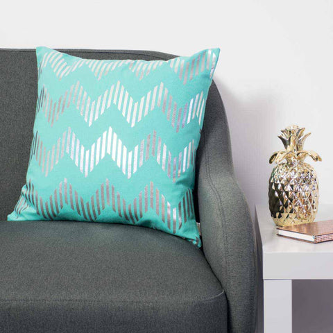 Line Chevron Metallic Cushion in Teal and Silver by Penelope Hope