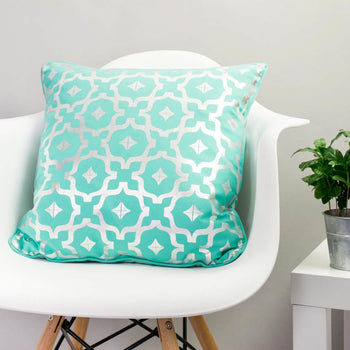 Moroccan Metallic Cushion in Teal and Silver by Penelope Hope