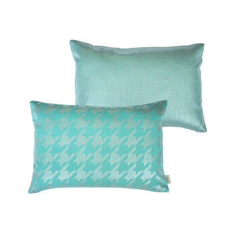 Sketchy Dogtooth Metallic Cushion in Teal and Silver FRONT & BACK