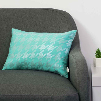Sketchy Dogtooth Metallic Cushion in Teal and Silver by Penelope Hope