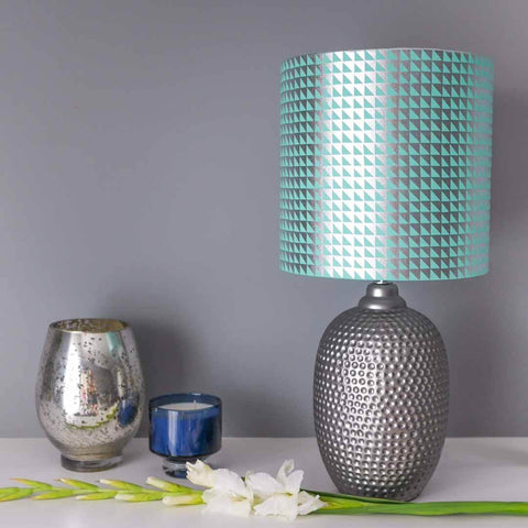 Metallic Triangles Lampshade in Teal and Silver by Penelope Hope