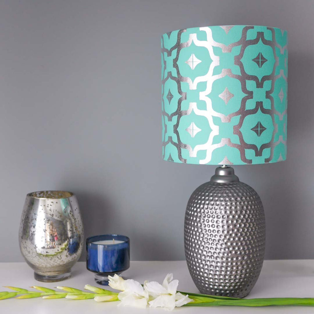 Moroccan metallic lampshade in teal silver penelope hope moroccan metallic lampshade in teal and silver by penelope hope aloadofball Image collections