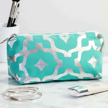 Moroccan Metallic Makeup Bag in Teal and Silver by Penelope Hope