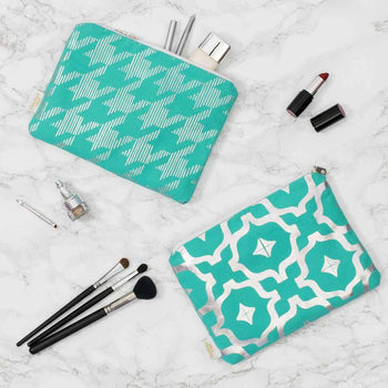 Metallic Pouch in Teal and Silver by Penelope Hope