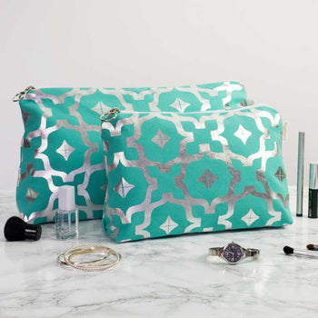 Taha'a Teal & Silver Wash Bags by Penelope Hope