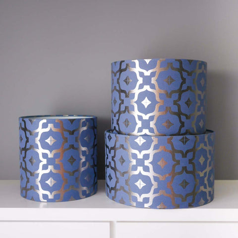 Moroccan Lampshade in Blue and Gunmetal in 3 sizes by Penelope Hope