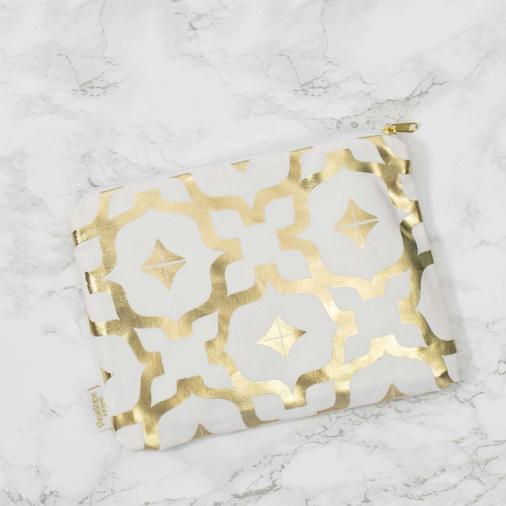 Moroccan Tahaa White & Gold Pouch by Penelope Hope