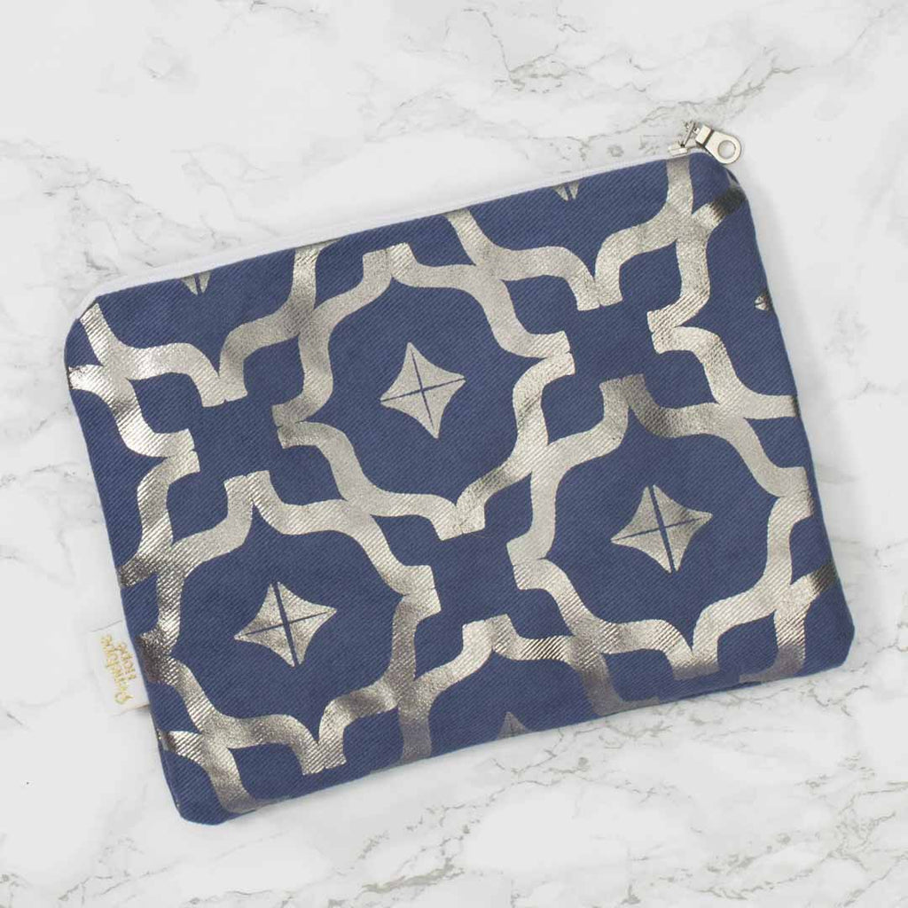 Moroccan Taha'a Blue & Gunmetal Pouch by Penelope Hope