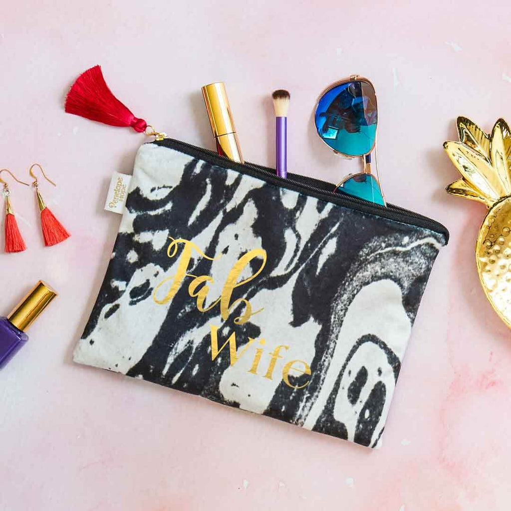 Fab Wife Velvet Clutch Bag or Cosmetic Pouch
