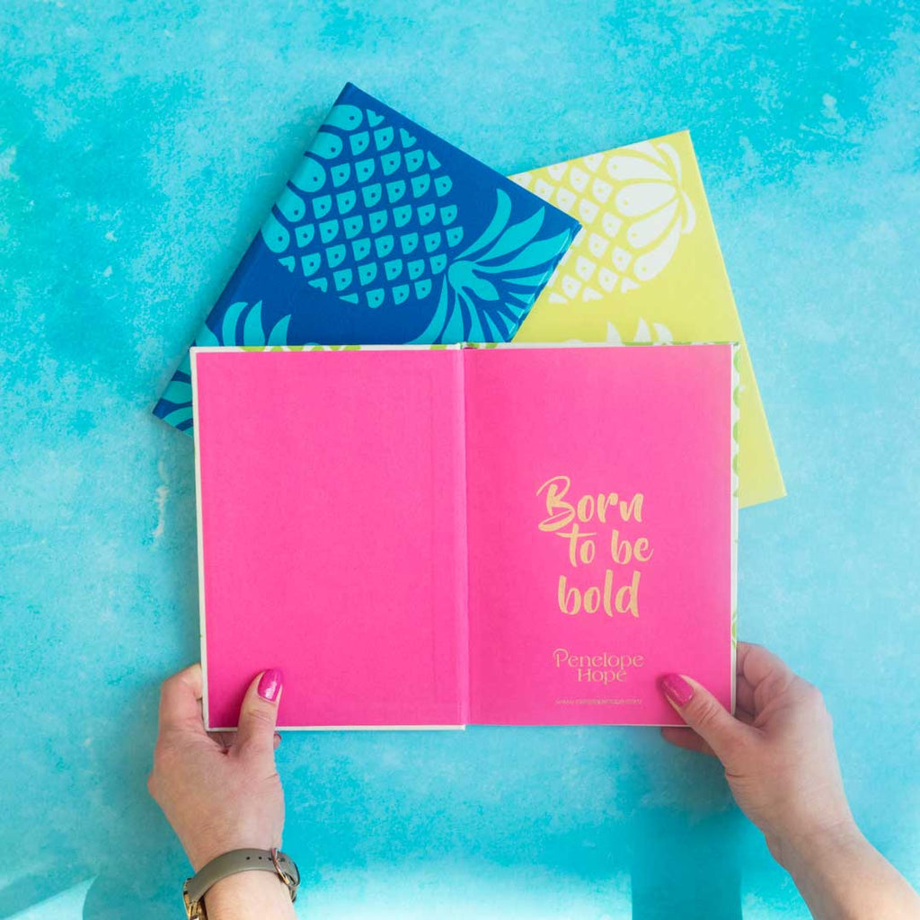 Pineapple Fabric Lined Notebooks | Penelope Hope