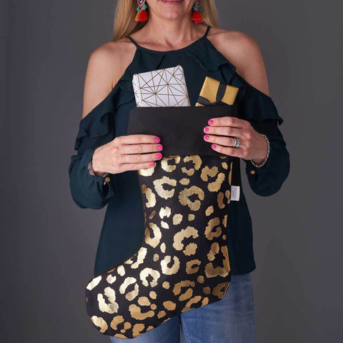 Black and Gold Leopard Print Christmas Stocking