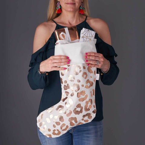 Personalised Rose Gold Leopard Print Christmas Stocking in White