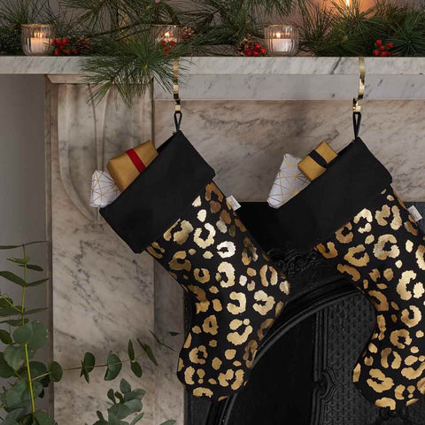 Personalised Gold Leopard Print Christmas Stocking in Black
