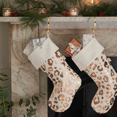 White and Rose Gold Leopard Print Christmas Stockings
