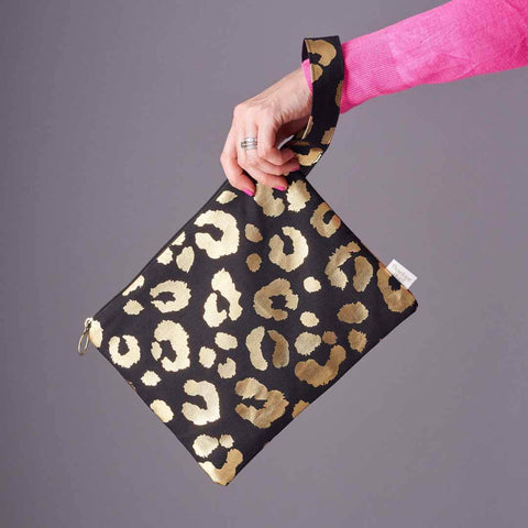 Gold Leopard Print Clutch Bag in Black