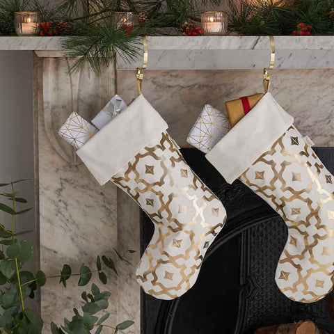 Personalised Metallic White & Gold Christmas Stocking