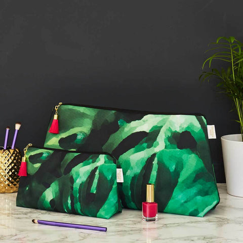 Monstera Leaf Wash and Makeup Bag Set by Penelope Hope