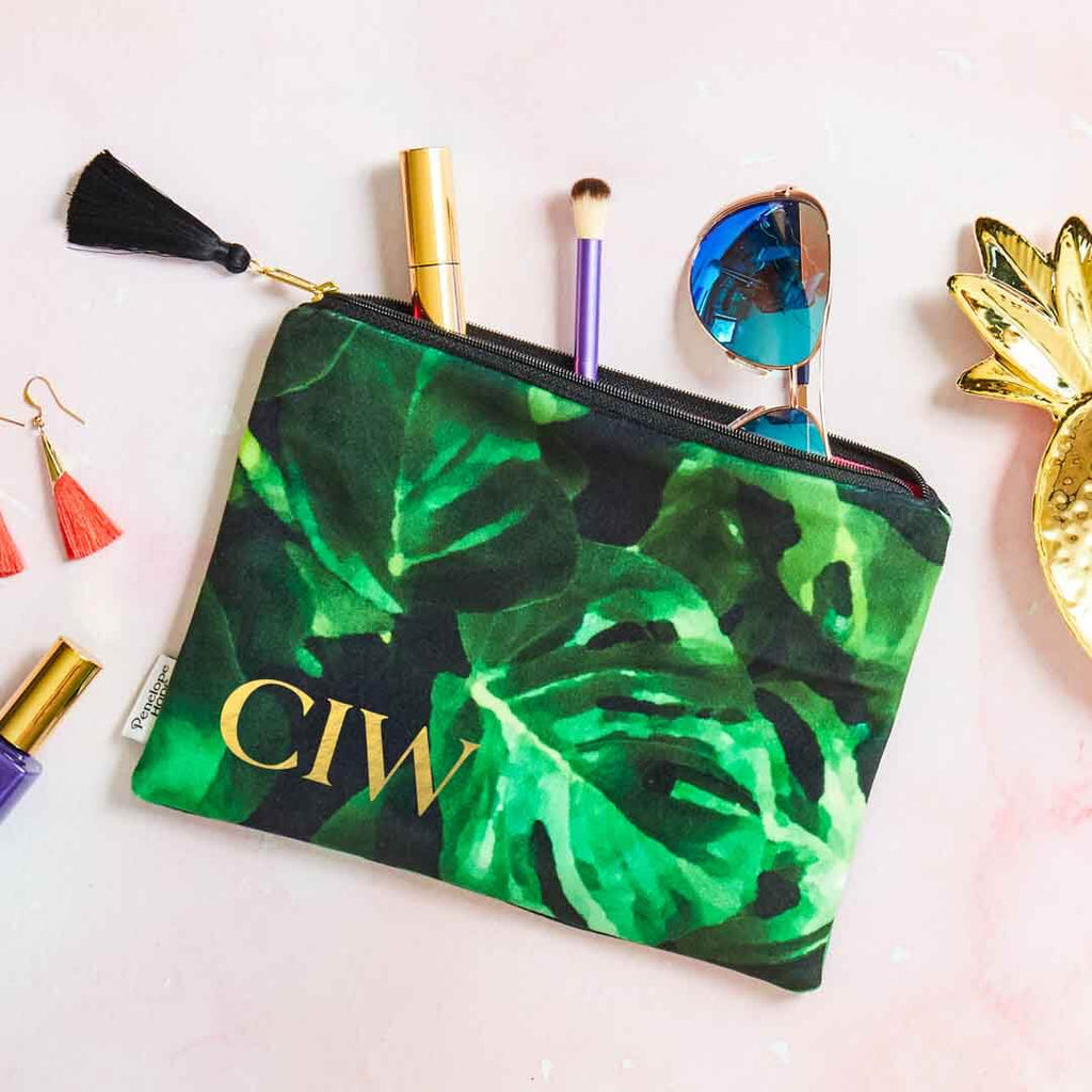 Monstera Leaf Velvet Cosmetic Pouch