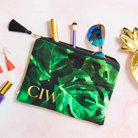Monstera Leaf Velvet Clutch Bag or Cosmetic Pouch